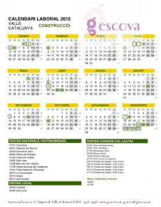 Calendari Laboral Construcció Valls 2015